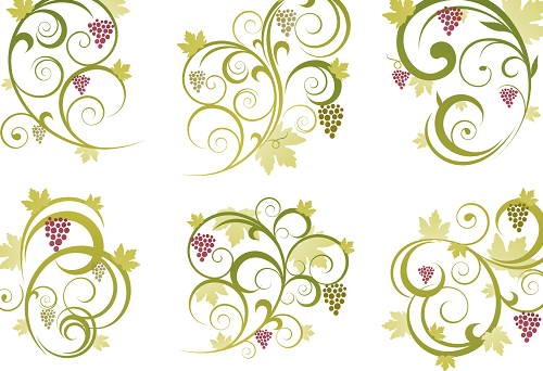 葡萄点缀花纹矢量素材