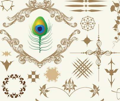 复古花纹羊皮纸矢量图