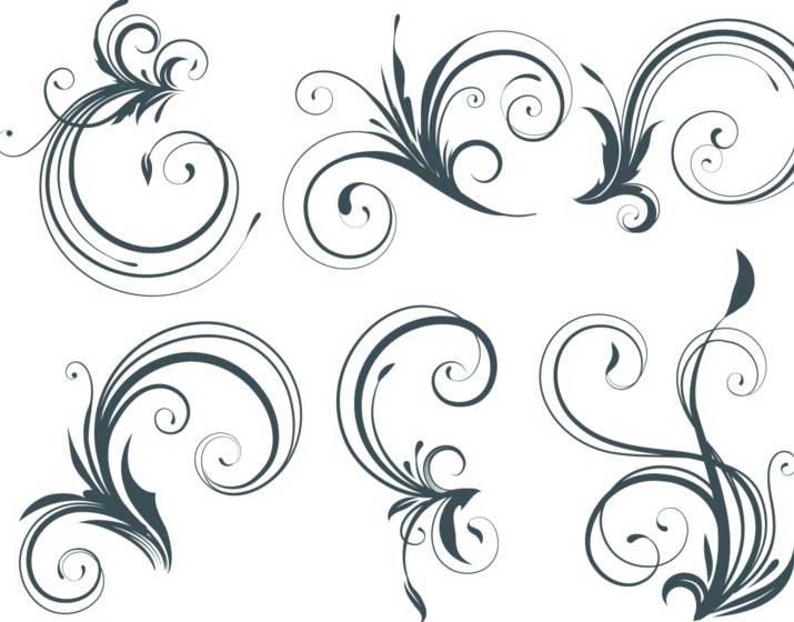 矢量素色植物花纹素材