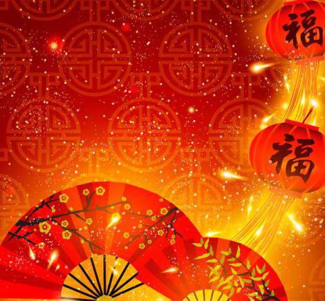 中国风新年喜庆背景扇子灯笼元素矢量素