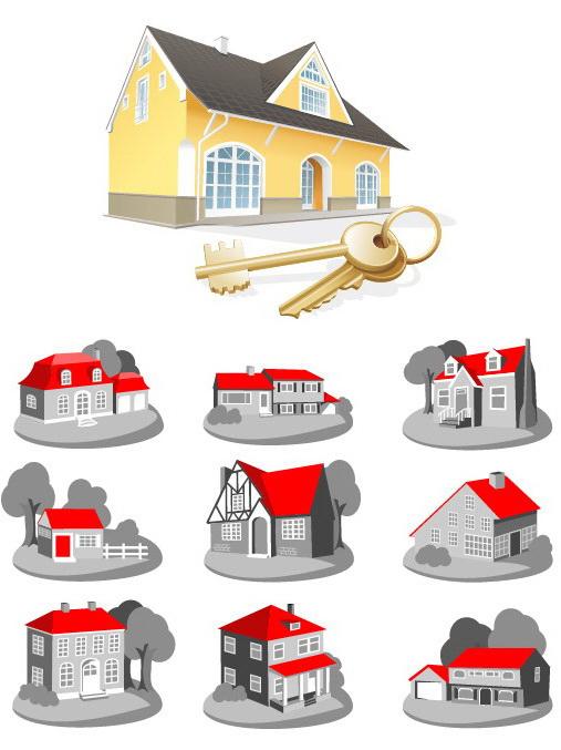 房子别墅图标矢量图