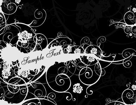 黑白花纹矢量图_黑白花纹矢量图模板