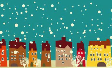 卡通楼房雪景背景矢量素材