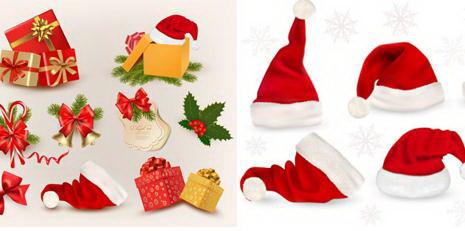 圣诞帽装饰物圣诞元素矢量素材大全图片