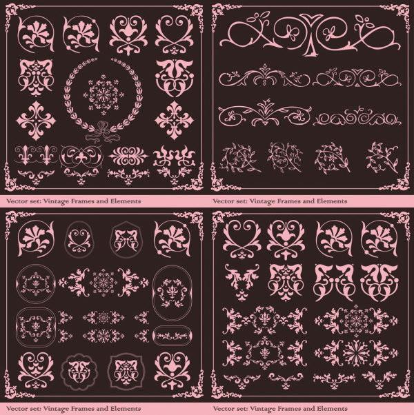 欧式复古花纹矢量图
