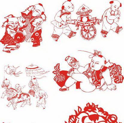 中国传统人物剪纸图案矢量图素材
