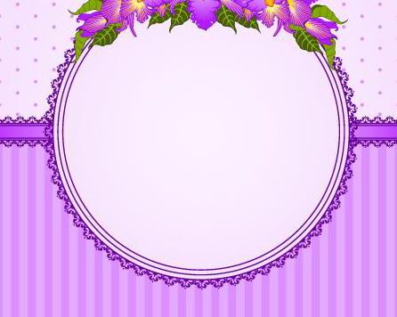 紫色鲜花装饰框矢量图