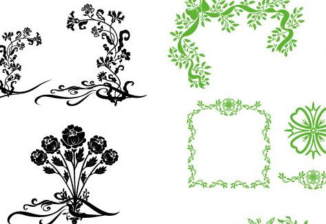 绿色花纹边框矢量图