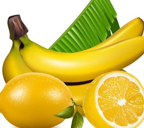 香蕉柠檬水果矢量图