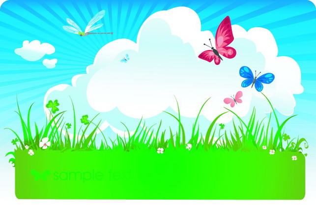蝴蝶蓝天白云矢量图官方下载|蝴蝶蓝天白云矢量图