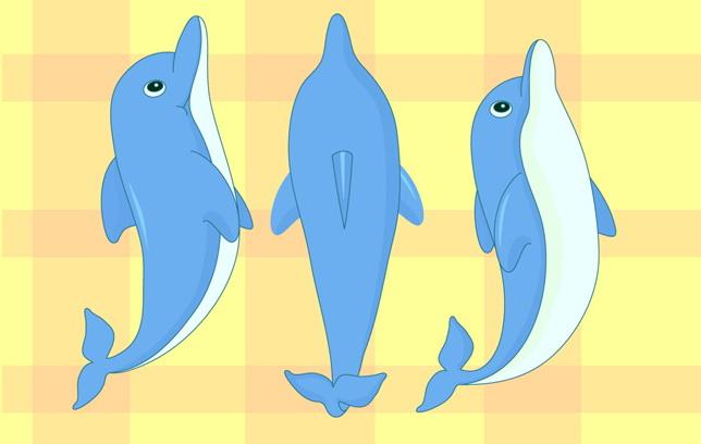 卡通海豚矢量图