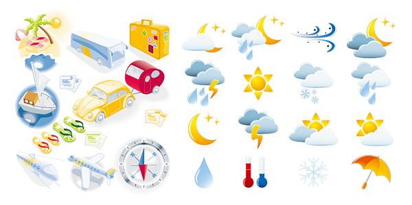 旅行和天气图标矢量图下载地址