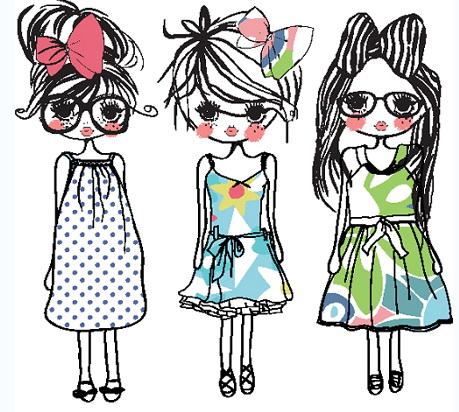 卡通手绘线条女孩矢量素材