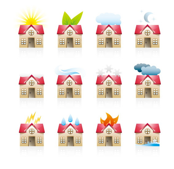 各种房子图标矢量图官方下载|各种房子图标矢量图