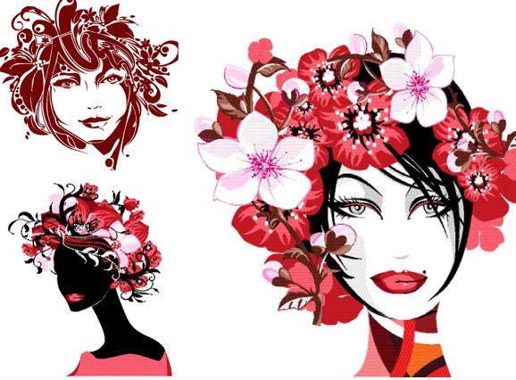 美女发型设计矢量图_美女发型设计矢量图模板