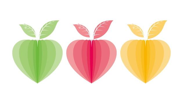 彩色心形叶子矢量图