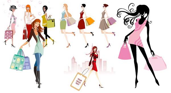 时尚购物美女矢量图_时尚购物美女矢量图模板