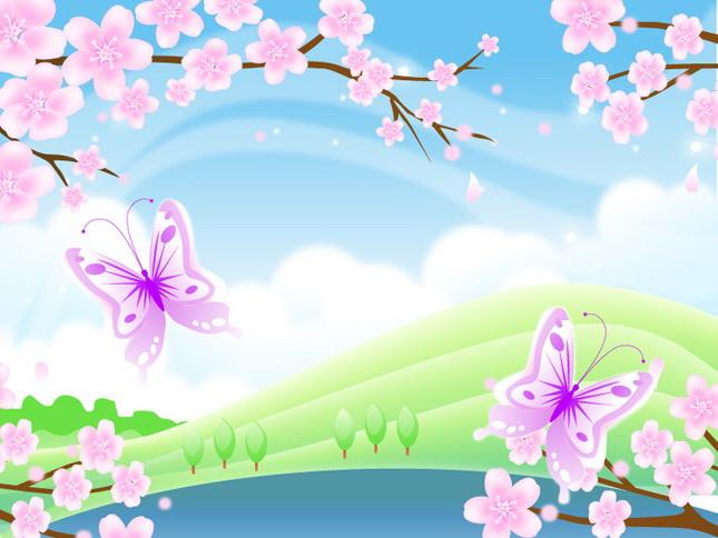 桃花风景矢量图