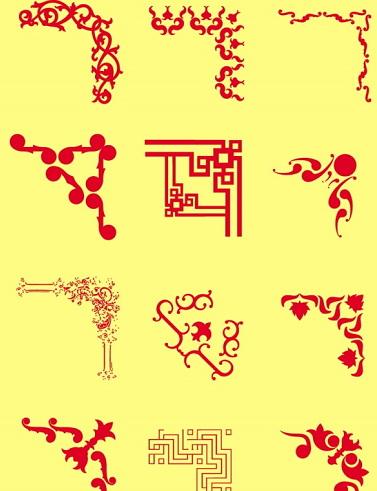 红色角花花纹源文件