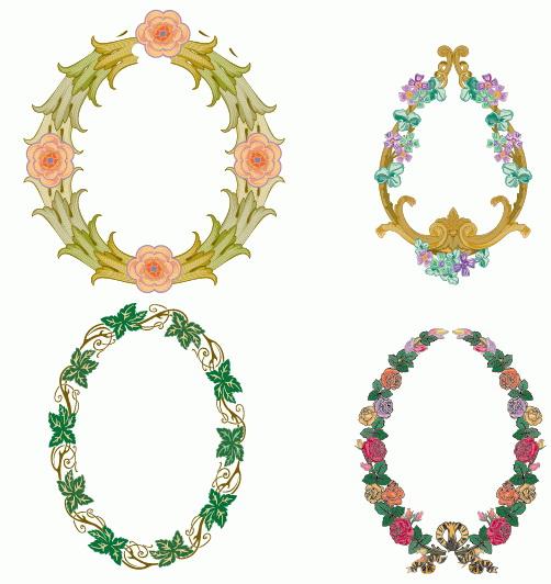 4款欧式花卉矢量边框
