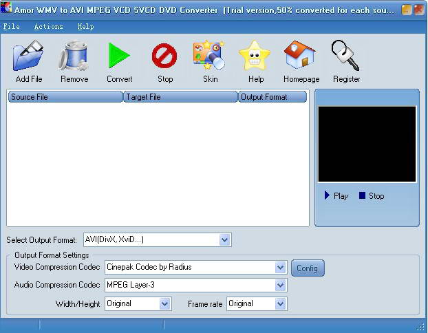 Amor WMV to AVI MPEG VCD SVCD DVD Converter