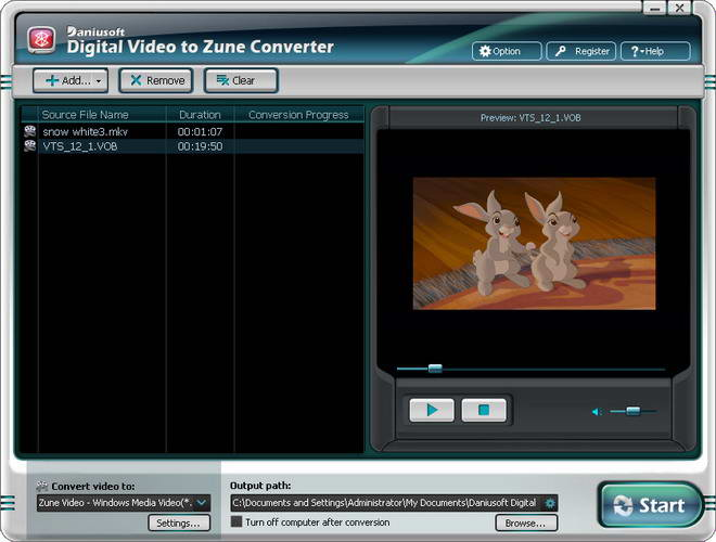 Daniusoft Digital Video to Zune Converter