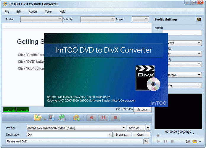 ImTOO DVD to DivX Converter