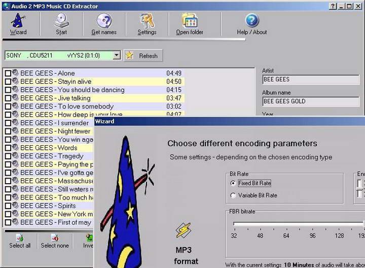 Audio 2 MP3 Music CD Extractor