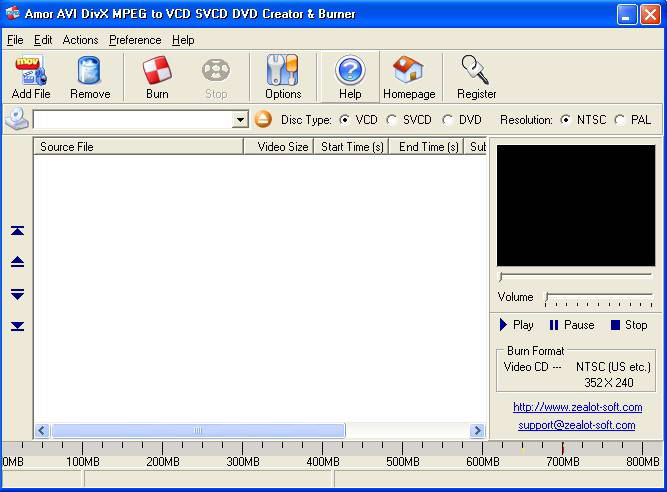 Amor AVI DivX MPEG to VCD SVCD DVD Creator and Burner