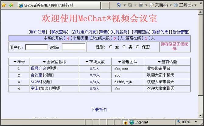 MeChat语音视频聊天视频会议Web系统