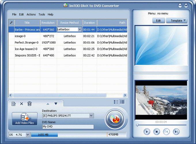 ImTOO DivX to DVD Converter