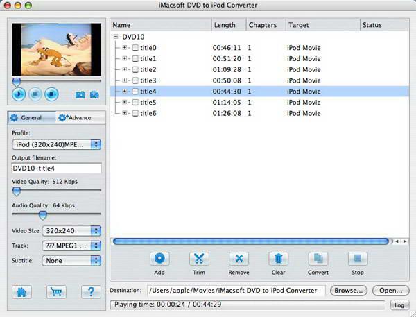 iMacsoft DVD to iPod Converter For Mac