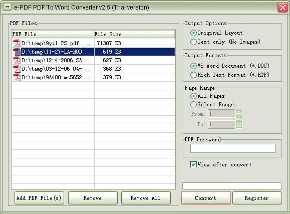 e-PDF To Word Converter