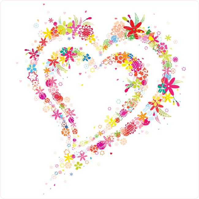 可爱花朵心形矢量图官方下载|可爱花朵心形矢量图