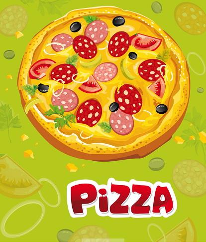 美味披萨菜谱矢量图