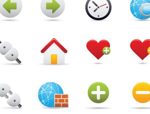 精致卡通图标按钮时钟插头房子心型心对话框警示矢量素材图片
