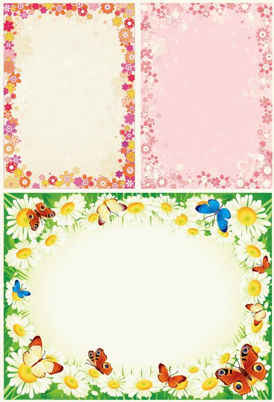 2款花朵组成花边矢量图