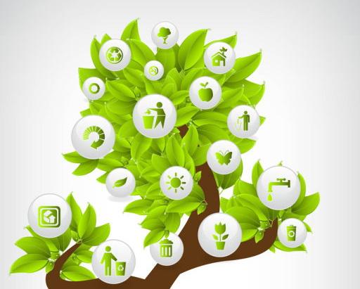 绿色环保节能按钮图标eps矢量素材