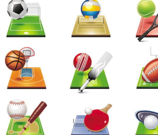 足球排球篮球橄榄球高尔夫球乒乓球等体育图标矢量素材图片
