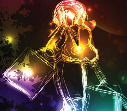绚丽的购物霓虹灯背景矢量素材