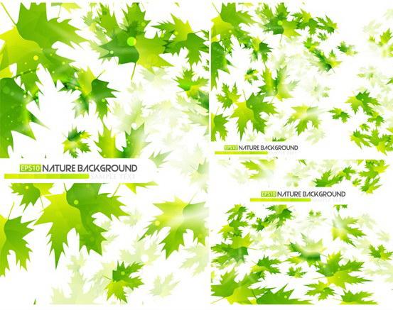 矢量绿色叶子背景图