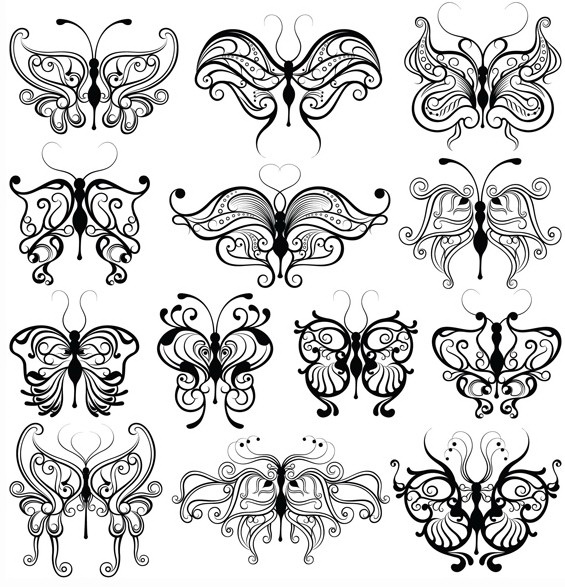 矢量蝴蝶样式绘画素材