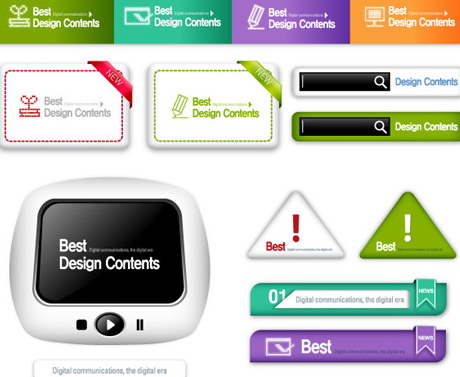 网站设计导航条,标签,按钮,ai格式矢量元素图片