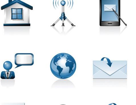 手机信号小房子锁电池搜索图标矢量素材