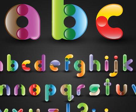 五颜六色英文字和数字艺术字体设计eps矢量素材