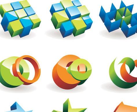 五角星立方体图标矢量素材