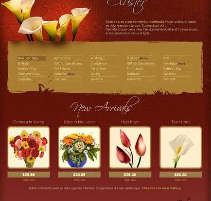 鲜花购物网站界面设计div+css模板