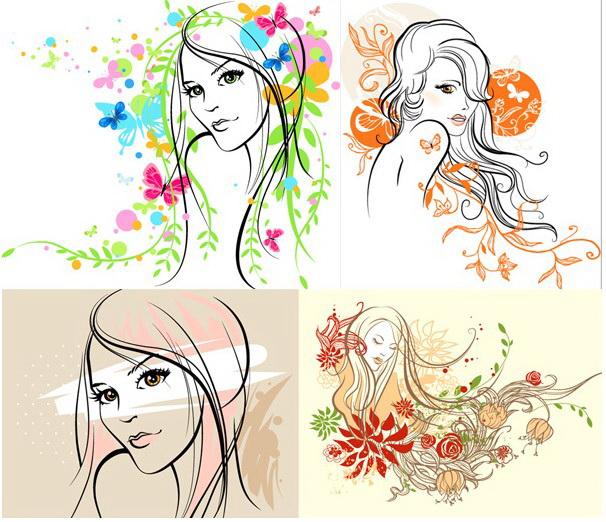 手绘素描美女矢量图_手绘素描美女矢量图模板