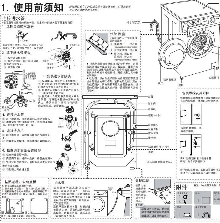 海尔xqg60-10288a滚筒洗衣机使用说明书