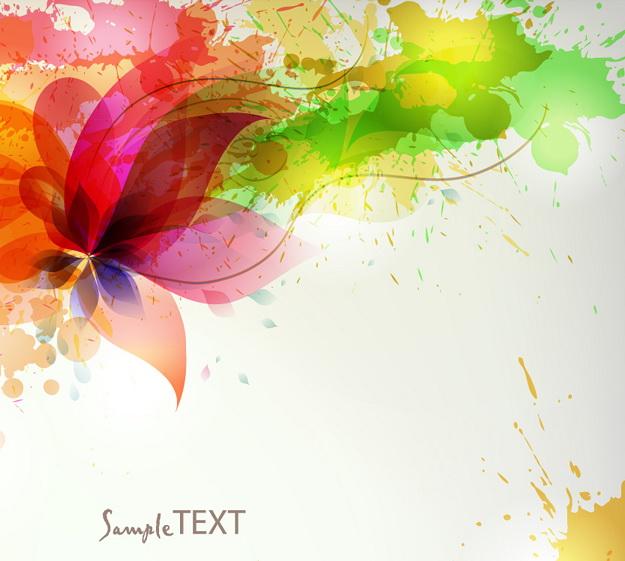 彩色泼墨背景矢量图